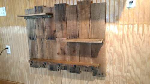 Rustic Coat/Key Rack with Shelves
