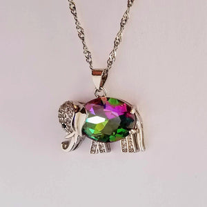 Rainbow Mystic Fire Topaz Elephant Pendant Necklace 925 Sterling Silver - Olafo's