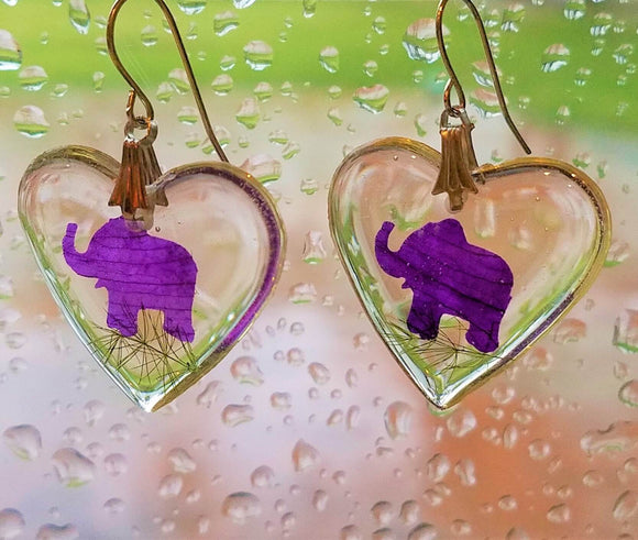 Resin Real Flower Preserved Handmade Elephant Earrings - Olafo's