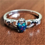 Black Fire Opal Multicolor Irish Claddagh Ring 925 Sterling Silver Love Heart Size 8 - Olafo's