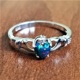 Black Fire Opal Multicolor Irish Claddagh Rainbow Ring Solid 925 Sterling Silver Love Heart - Olafo's