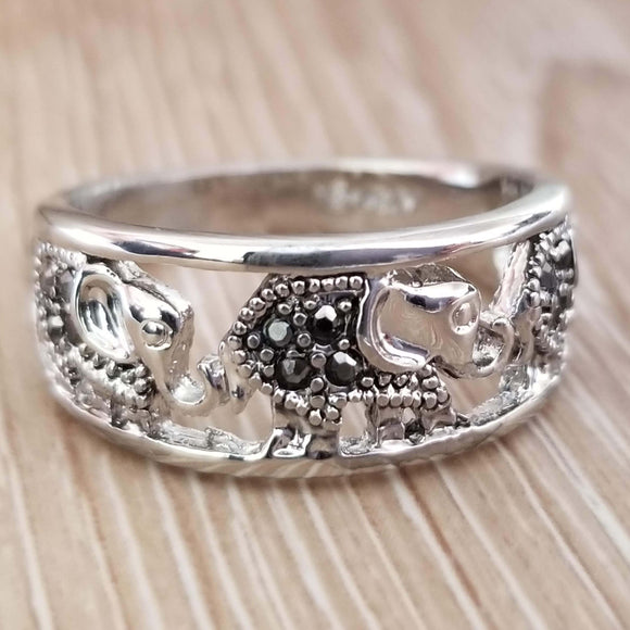 Elephant Ring Black Rhinestone White Gold plated - Olafo's