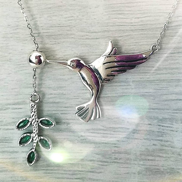 Hummingbird Pendant Necklace 925 Sterling Silver - Olafo's
