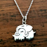 Elephant Pendant Necklace 925 Sterling Silver Elephant Hug - Olafo's