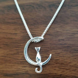 Cat Moon Pendant Necklace Charm Silver Gold Necklace - Olafo's