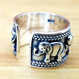 Elephant Antique 925 Sterling Silver Ring Adjustable Wide - Olafo's