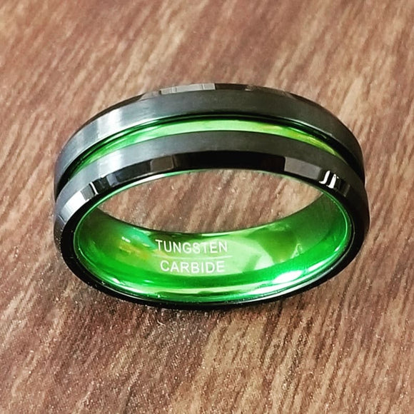 Tungsten Steel Men's Ring Green Single Groove 8MM wide - Olafo's