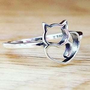 Cat Rings 925 Sterling Silver Little Cat & Heart Ring - Olafo's