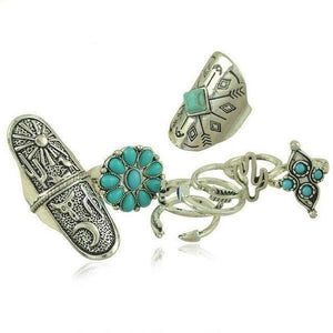 Knuckle Rings Set Bohemian Unique Turquoise Design Boho Ring Sets 9 pcs/Set Silver - Olafo's