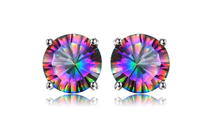 Natural Mystic Rainbow Topaz Earrings Stud 925 Sterling Silver - Olafo's