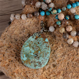 Tear Drop Boho Natutral stone Blue Earth Pendant Necklace - Olafo's