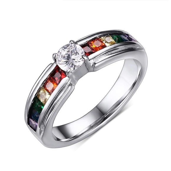Cubic Zirconia Crystal Stones Rainbow Wedding Ring - Olafo's