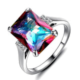 Mystic Fire Rainbow Topaz Cubic Zirconia 925 Sterling Silver Ring - Olafo's