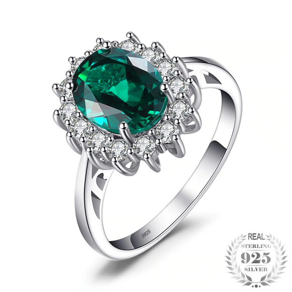 2.5ct Created Emerald Ring Solid 925 Sterling Silver Ring - Olafo's