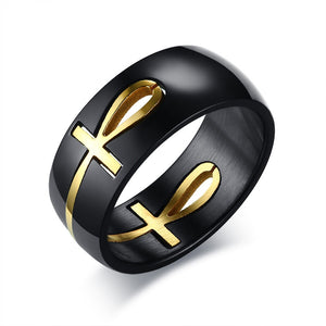 Ankh Egyptian Cross Ring Black Gold Stainless Steel Key of Life - Olafo's