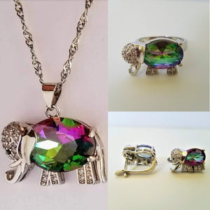 Topaz Elephant Set Ring, Earrings, Necklace 925 Sterling Silver - Olafo's