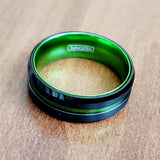 Tungsten Steel Men's Ring Green Single Groove 8MM wide