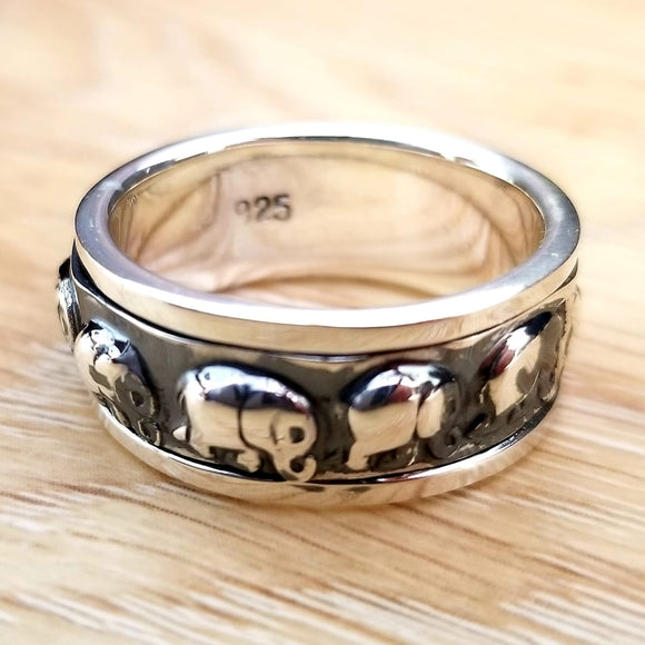 Thai Elephant 925 Sterling Silver Spinner Ring - Olafo's