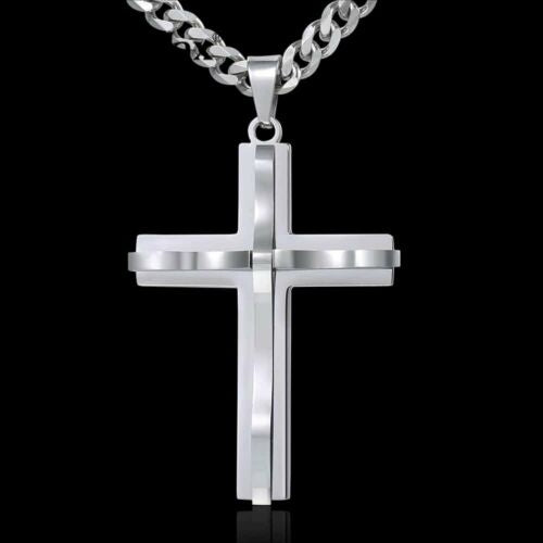 Cross Pendant Necklace Men's Chain Stainless Steel Curb Cuban Link