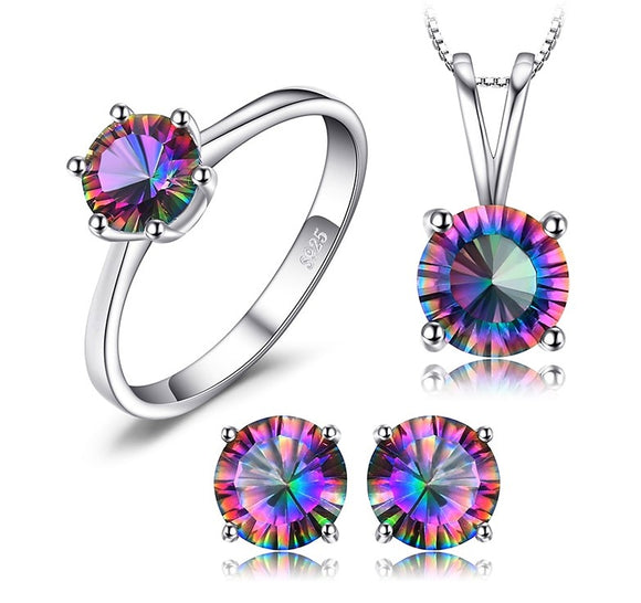 Natural Rainbow Fire Mystic Topaz Set Pendant, Ring, Earrings 925 Sterling Silver - Olafo's