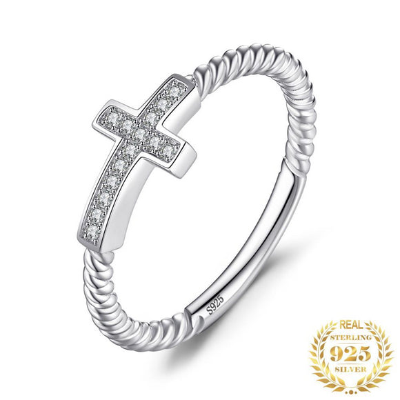 Cross Round Cubic Zirconia Peace Ring 925 Sterling Silver - Olafo's