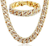 Iced Out Miami Curb Cuban Link Necklace and Bracelet Jewelry Set Gold Silver - Olafo's