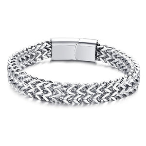 Stainless Steel Men's Bracelet Double Chain Silver - Olafo's