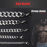 Stainless Steel Cuban Curb Link Chains Silver Necklace for Men - Olafo's