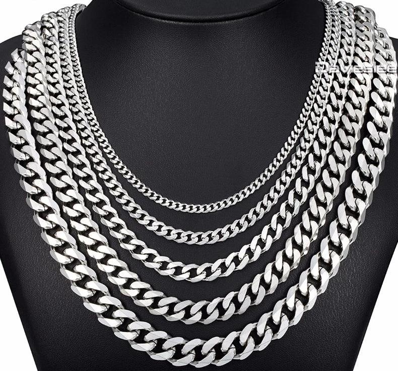 Stainless Steel Cuban Curb Link Chains Silver Necklace For Men Olafo S