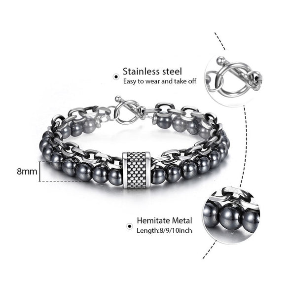Natural Stone Stainless Steel Men's Beaded Bracelet