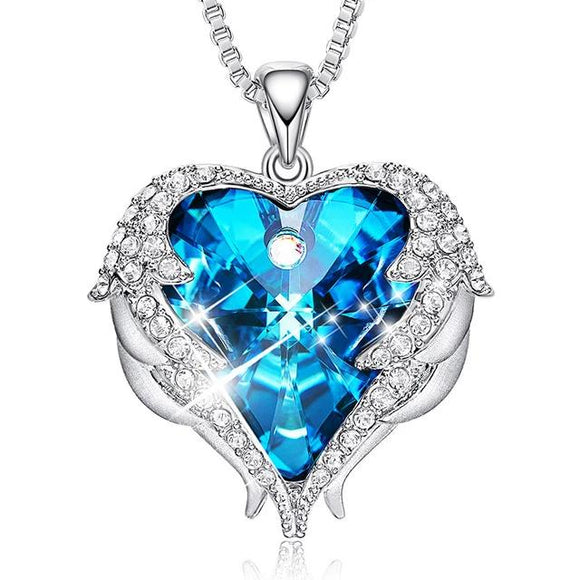 Angel Wings Love Heart Austrian Crystal Pendant Necklace - Olafo's
