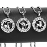 Stainless Steel Silver Horoscope Zodiac Sign Pendant Necklace