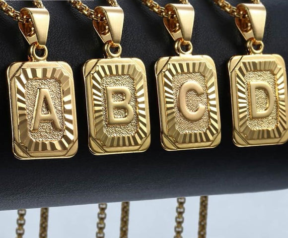 Initial Letter Pendant Necklace Gold Letter