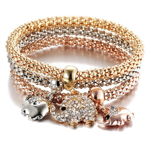Elephant Charm Multilayer Crystal Charm Bracelet Rose, Gold and Silver Color 3 Pcs/Set - Olafo's