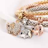 Vintage Multilayer Crystal Charm Bracelet Rose, Gold and Silver Color 3 Pcs/Set Rhinestone Pendant - Olafo's