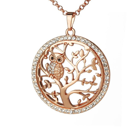Owl Pendant Necklace Tree Of Life Rose Gold Silver - Olafo's