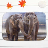 Floor Mat Elephants Holding Trunks for Living Room, Rug, Doormat, or Kitchen Non-slip - Olafo's