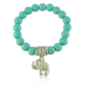 Elephant Charm Bracelet Classic Ethnic Turquoise Beads And Tibetan Silver - Olafo's