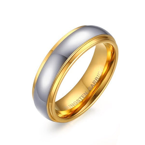 Tungsten Carbide Wedding Band Ring His & Her's Polishing Center Step Edge - Olafo's