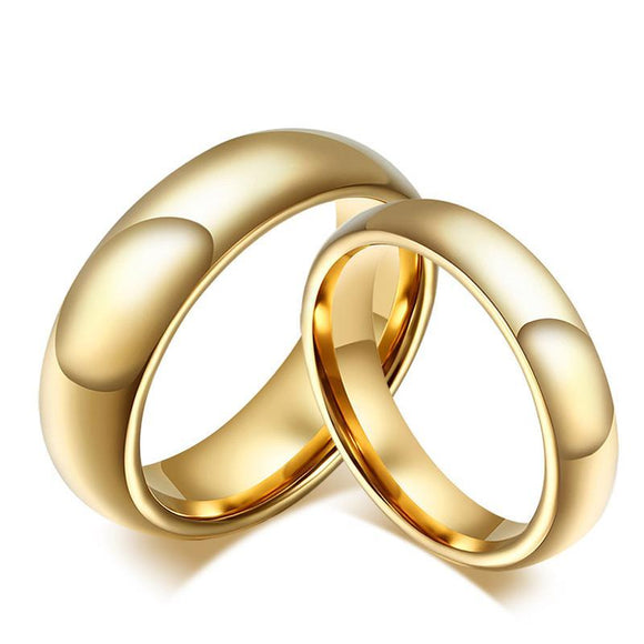 Tungsten Carbide Wedding Ring for Women / Men Classic Gold-color - Olafo's