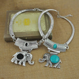 Turquoise Elephant Pendant Choker Necklace Antique Tibetan Silver Plated - Olafo's