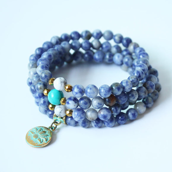 Yoga Natural Sodalite Mala Beads with Lotus Charm Necklace or Bracelet - Olafo's