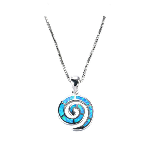 Blue fire Opal 925 Sterling Silver Snail Spiral Pendant - Olafo's