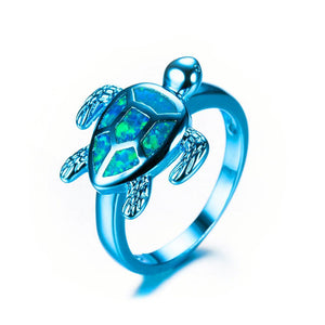 Sea Turtle Ring Blue Fire Opal - Olafo's