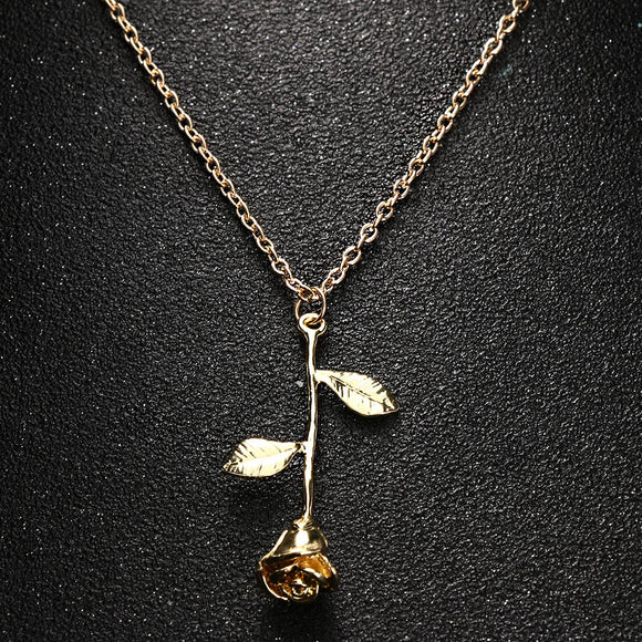 Delicate Rose Pendant Necklace Gold, Silver or Rose Gold - Olafo's