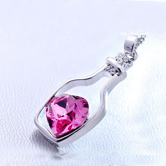 Heart Crystal Pendant Necklace Love Bottle - Olafo's