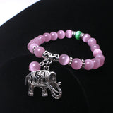 Cat Eye Natural Stone Bracelet Elephant Pendant Ancient Silver Green or Pink - Olafo's