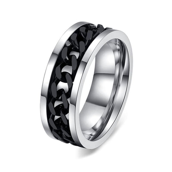 Stainless Steel Black Chain Spinner Ring Stress Reliever - Olafo's
