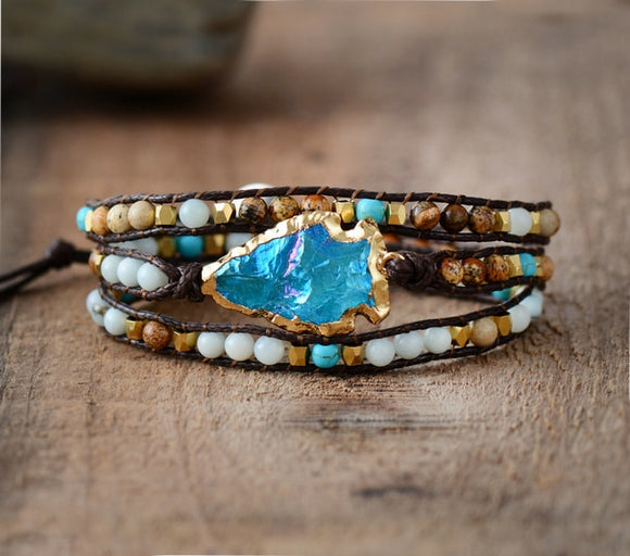 Handmade Natural Stones Gilded Arrowhead Blue Quartz Wrap Bracelet Vegan Leather - Olafo's
