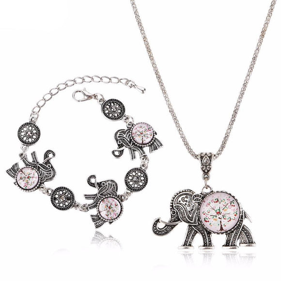 Tree of Life Elephant Jewelry Set Necklace & Bracelet - Olafo's